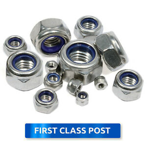 M3 M4 M5 M6 M8 M10 M12 Nyloc A2 STAINLESS STEEL DIN 985 Nylock Nylon Nuts