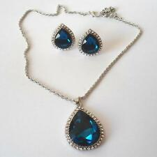 WOMEN'S SETS NECKLACE EARRINGS SILVER TONE SIMULAT. BLUE SAPPHIRES CRYSTALS 8 A