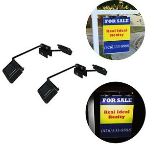 Solar Powered Dual Sided LED Lights for Real Estate Signs Mounting Bracket Light