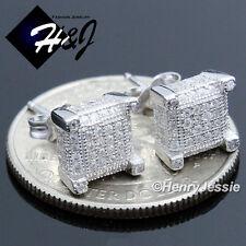 Men 925 Sterling Silver Square 7X7Mm Lab Diamond Iced Bling 3D Stud Earring*E90