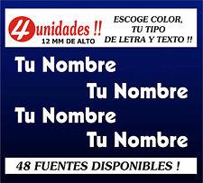 PEGATINAS PERSONALIZABLES (4 UNIDADES) -Tu Nombre (o texto),ESCOGE TIPO DE LETRA