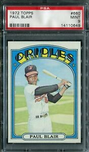 "1972 Topps #660 Paul Blair ""High Number"" PSA 9 Mint!"