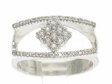 UNIQUE 14k Solid White Gold 0.40ctw Ladies Open Diamond Ring w/ Center Cluster