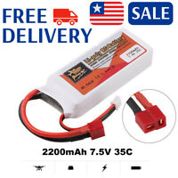 2200mAh 7.4V 2S LiPo Battery T Plug Deans Plug for RC Car Airplane Helicopter US