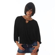 Sexy Sweatshirt Shirt Pulli Bluse Pullover 3/4 ArmTop Wickeloptik 34 36 38