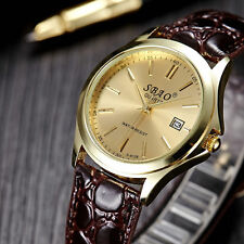Men`s Quality Gold SBAO Quartz Gold Dial & Date Window Brown Band Wrist Watch