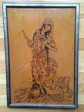 Pyrography Art On Plywood Lebanese Women Signed Rita Lebanese Artist