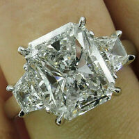 3.83Ct Radiant cut Solitaire Diamond Engagement Ring Solid 14K White Gold Over
