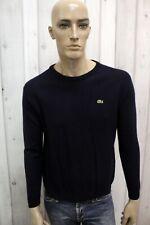 LACOSTE Maglione Uomo Taglia S Casual Blu Lana Sweater Pull Pullover Man