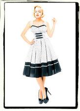 1X 16 46 RETRO ROCKABILLY PINUP SWEETHEART COUTURE WHITE BLACK POLKADOT 50 DRESS