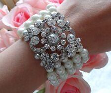 Bridal Pearl Crystal Rhinestone Vintage Diamante Stretch Bangle Bracelet NEW
