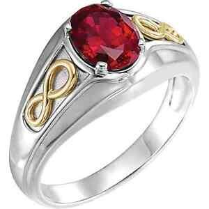 14K White/Yellow Men's Lab-Grown Ruby Infinity Ring