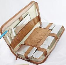 """Vintage Travel Grooming Toiletry Kit-Unused-12 Pc-11"""" x 6"""" x 2""""-Germany"""