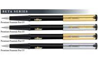 3 x Parker Beta Premium Ink Fountain Pen FP Converter Black Body GT CT Trim Fine