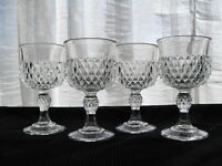Indiana Glass 4 Clear Diamond Point 6 ounce Footed Wine Goblets