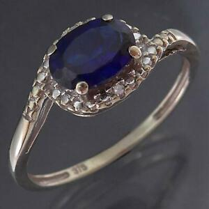 Bypass Band Solid 9k WHITE GOLD SAPPHIRE & 2 Diamond ILLUSION CLUSTER RING Sz O