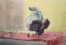 Vintage watercolor painting impressionist still life jug leeks red cabbage