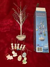 Vintage 1993 Nce 12� Easter Tree W 10 Hand Painted Ornaments. Great Condition