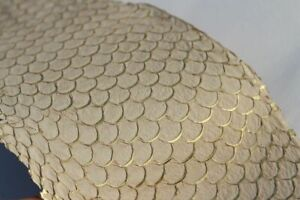 authentic Vegetable-Tanned Fish Skin Hide Leather Craft Supply Gold Natural