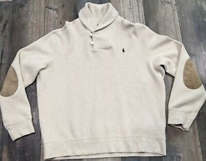 Polo Ralph Lauren Sweater XL Shawl Collar Elbow Patches Cotton Pullover