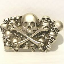 Skull Graveyard Belt Buckle Bone Skeleton Scary Halloween Costume Dead Face