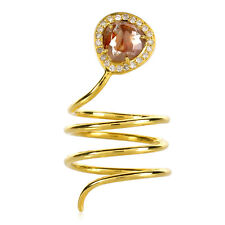 Latest Fashion 18k Solid Yellow Gold Spiral Ring 1.77ct Ice Diamond Gift Jewelry