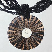 Vintage seashell mosaic pendant black glass beads necklace style of Lee Sands