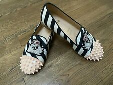 Christian Louboutin Black/White/Pink Spiked Striped Loafers Shoes 38 1/2 38.5