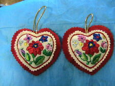 "HUNGARIAN silk EMBROIDERED KALOCSA 3-3/4"" HEART ORNAMENT NEW handmade by me"
