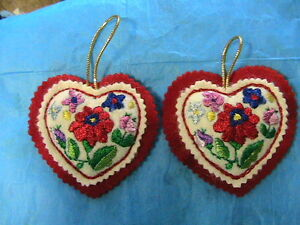 """HUNGARIAN silk EMBROIDERED KALOCSA 3-3/4"""" HEART ORNAMENT NEW handmade by me"""