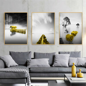 Abstract Yellow Bridge Landscape Canvas Poster Wall Living Room Home Art Decor