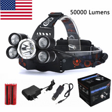50000LM 5Head CREE XM-L T6 LED 18650 Headlamp Headlight Flashlight Torch Light