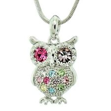 "Owl Pendant Made With Swarovski Crystal Smart Multi Color Necklace 18"" Chain"