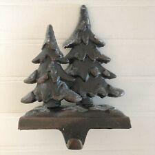 Cast Iron Christmas Trees Sparkly Snow Stocking Holder Hanger Hook