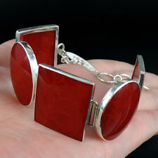 Quality Red Coral & 925 Sterling Silver Bracelet Jewellery, Modern Design