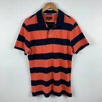 Rodd & Gunn Mens Polo Shirt Size Medium Navy Blue Orange Striped Short Sleeve