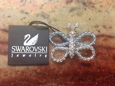 Swarovski Aqua Crystal Bead and Pave Crystal Butterfly Pin Brooch OBO