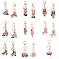 Hot Crystal Rhinestone Keyring Keychain Charm Pendant Bag Purse Car Key Chain La