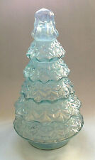 "NEW 10"" Iridescent ICE BLUE Glass CHRISTMAS PINE TREE Lighted LED Aqua"