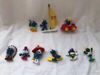 Vintage Smurf Figures 1977-1980 Lot Of 9 Schleich Peyo