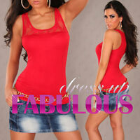 NEW SEXY WOMENS LACE TOP PARTY CASUAL EVENING SINGLET SHIRT BLOUSE 6 8 10 XS S M