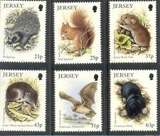 Jersey- Small Mammals set of 6 mnh-Red Squirrel,Hedgehog,Mole,Sh rew etc