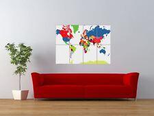 Pp World Map Atlas Colour Globe Giant Wall Art Poster Print
