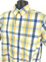 CHAPS Shirt Mens Size L Large Yellow Blue Checked Short Sleeve Button Front