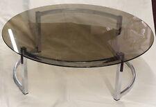 1970/80' Table basse ronde avec plateau verre fumé