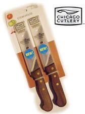 "2 CHICAGO CUTLERY Walnut STEAKHOUSE Steak 10"" KNIFE SET *Serrated Edge 5"" Blade"