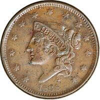 1838 Coronet Liberty Head Large Cent, Matron Early Copper Penny, High Grade