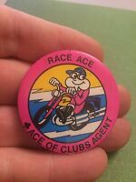 Vintage Pin Badge. Advertising. Race Ace. Ace Of Clubs Agent. Motorcycle