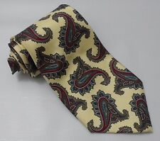 CHRISTIAN DIOR Mens Floral Paisley Pattern Silk Necktie Tie Yellow Made in USA