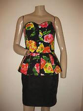 Vintage 80s Bright Floral Black Strapless Peplum Waist Bombshell Dress S/M